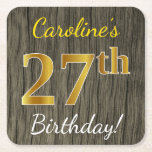 [ Thumbnail: Faux Wood, Faux Gold 27th Birthday + Custom Name Paper Coaster ]