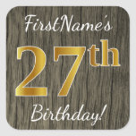 [ Thumbnail: Faux Wood, Faux Gold 27th Birthday + Custom Name Sticker ]