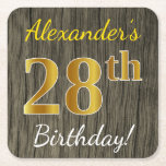 [ Thumbnail: Faux Wood, Faux Gold 28th Birthday + Custom Name Paper Coaster ]