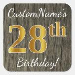 [ Thumbnail: Faux Wood, Faux Gold 28th Birthday + Custom Name Sticker ]