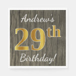 [ Thumbnail: Faux Wood, Faux Gold 29th Birthday + Custom Name Napkin ]
