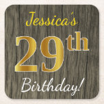 [ Thumbnail: Faux Wood, Faux Gold 29th Birthday + Custom Name Paper Coaster ]