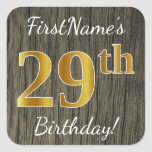 [ Thumbnail: Faux Wood, Faux Gold 29th Birthday + Custom Name Sticker ]