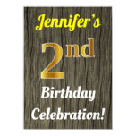 [ Thumbnail: Faux Wood, Faux Gold 2nd Birthday Celebration Invitation ]