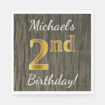 [ Thumbnail: Faux Wood, Faux Gold 2nd Birthday + Custom Name Napkin ]