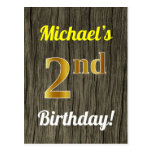 [ Thumbnail: Faux Wood, Faux Gold 2nd Birthday & Custom Name Postcard ]