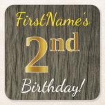 [ Thumbnail: Faux Wood, Faux Gold 2nd Birthday + Custom Name Paper Coaster ]