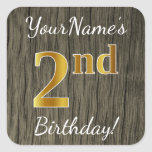 [ Thumbnail: Faux Wood, Faux Gold 2nd Birthday + Custom Name Sticker ]