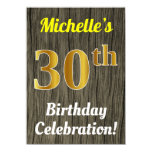 [ Thumbnail: Faux Wood, Faux Gold 30th Birthday Celebration Invitation ]