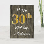 [ Thumbnail: Faux Wood, Faux Gold 30th Birthday + Custom Name Card ]