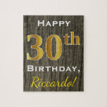 [ Thumbnail: Faux Wood, Faux Gold 30th Birthday + Custom Name Jigsaw Puzzle ]