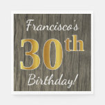 [ Thumbnail: Faux Wood, Faux Gold 30th Birthday + Custom Name Napkin ]