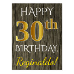 [ Thumbnail: Faux Wood, Faux Gold 30th Birthday + Custom Name Postcard ]