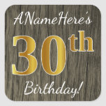 [ Thumbnail: Faux Wood, Faux Gold 30th Birthday + Custom Name Sticker ]