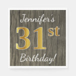 [ Thumbnail: Faux Wood, Faux Gold 31st Birthday + Custom Name Napkin ]