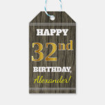 [ Thumbnail: Faux Wood, Faux Gold 32nd Birthday + Custom Name Gift Tags ]