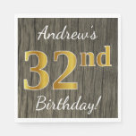 [ Thumbnail: Faux Wood, Faux Gold 32nd Birthday + Custom Name Napkin ]