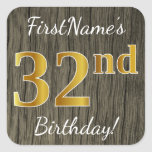 [ Thumbnail: Faux Wood, Faux Gold 32nd Birthday + Custom Name Sticker ]