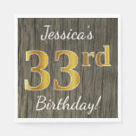 [ Thumbnail: Faux Wood, Faux Gold 33rd Birthday + Custom Name Napkin ]