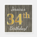 [ Thumbnail: Faux Wood, Faux Gold 34th Birthday + Custom Name Napkin ]