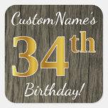 [ Thumbnail: Faux Wood, Faux Gold 34th Birthday + Custom Name Sticker ]