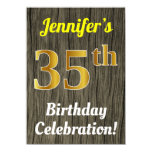 [ Thumbnail: Faux Wood, Faux Gold 35th Birthday Celebration Invitation ]
