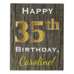 [ Thumbnail: Faux Wood, Faux Gold 35th Birthday + Custom Name Jigsaw Puzzle ]