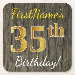 [ Thumbnail: Faux Wood, Faux Gold 35th Birthday + Custom Name Paper Coaster ]