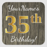 [ Thumbnail: Faux Wood, Faux Gold 35th Birthday + Custom Name Sticker ]