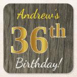 [ Thumbnail: Faux Wood, Faux Gold 36th Birthday + Custom Name Paper Coaster ]