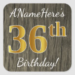 [ Thumbnail: Faux Wood, Faux Gold 36th Birthday + Custom Name Sticker ]