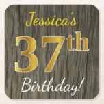 [ Thumbnail: Faux Wood, Faux Gold 37th Birthday + Custom Name Paper Coaster ]