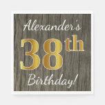 [ Thumbnail: Faux Wood, Faux Gold 38th Birthday + Custom Name Napkin ]
