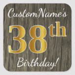 [ Thumbnail: Faux Wood, Faux Gold 38th Birthday + Custom Name Sticker ]
