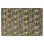 [ Thumbnail: Faux Wood, Faux Gold 39th (Thirty-Ninth) Event Tissue Paper ]
