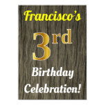 [ Thumbnail: Faux Wood, Faux Gold 3rd Birthday Celebration Invitation ]