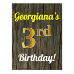 [ Thumbnail: Faux Wood, Faux Gold 3rd Birthday & Custom Name Postcard ]