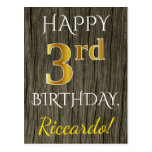 [ Thumbnail: Faux Wood, Faux Gold 3rd Birthday + Custom Name Postcard ]