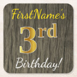 [ Thumbnail: Faux Wood, Faux Gold 3rd Birthday + Custom Name Paper Coaster ]