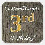 [ Thumbnail: Faux Wood, Faux Gold 3rd Birthday + Custom Name Sticker ]