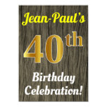 [ Thumbnail: Faux Wood, Faux Gold 40th Birthday Celebration Invitation ]