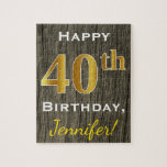 [ Thumbnail: Faux Wood, Faux Gold 40th Birthday + Custom Name Jigsaw Puzzle ]