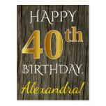 [ Thumbnail: Faux Wood, Faux Gold 40th Birthday + Custom Name Postcard ]
