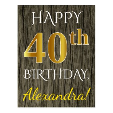 Beach Themed Faux Wood, Faux Gold 40th Birthday   Custom Name Postcard