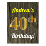 [ Thumbnail: Faux Wood, Faux Gold 40th Birthday & Custom Name Postcard ]