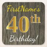 [ Thumbnail: Faux Wood, Faux Gold 40th Birthday + Custom Name Paper Coaster ]