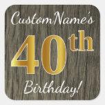 [ Thumbnail: Faux Wood, Faux Gold 40th Birthday + Custom Name Sticker ]