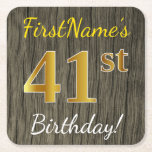 [ Thumbnail: Faux Wood, Faux Gold 41st Birthday + Custom Name Paper Coaster ]