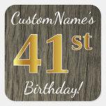 [ Thumbnail: Faux Wood, Faux Gold 41st Birthday + Custom Name Sticker ]