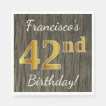 [ Thumbnail: Faux Wood, Faux Gold 42nd Birthday + Custom Name Napkin ]
